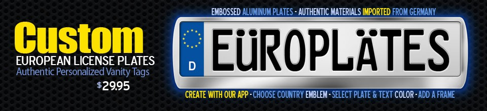 Custom European License Plates - Make Your Own Europlates